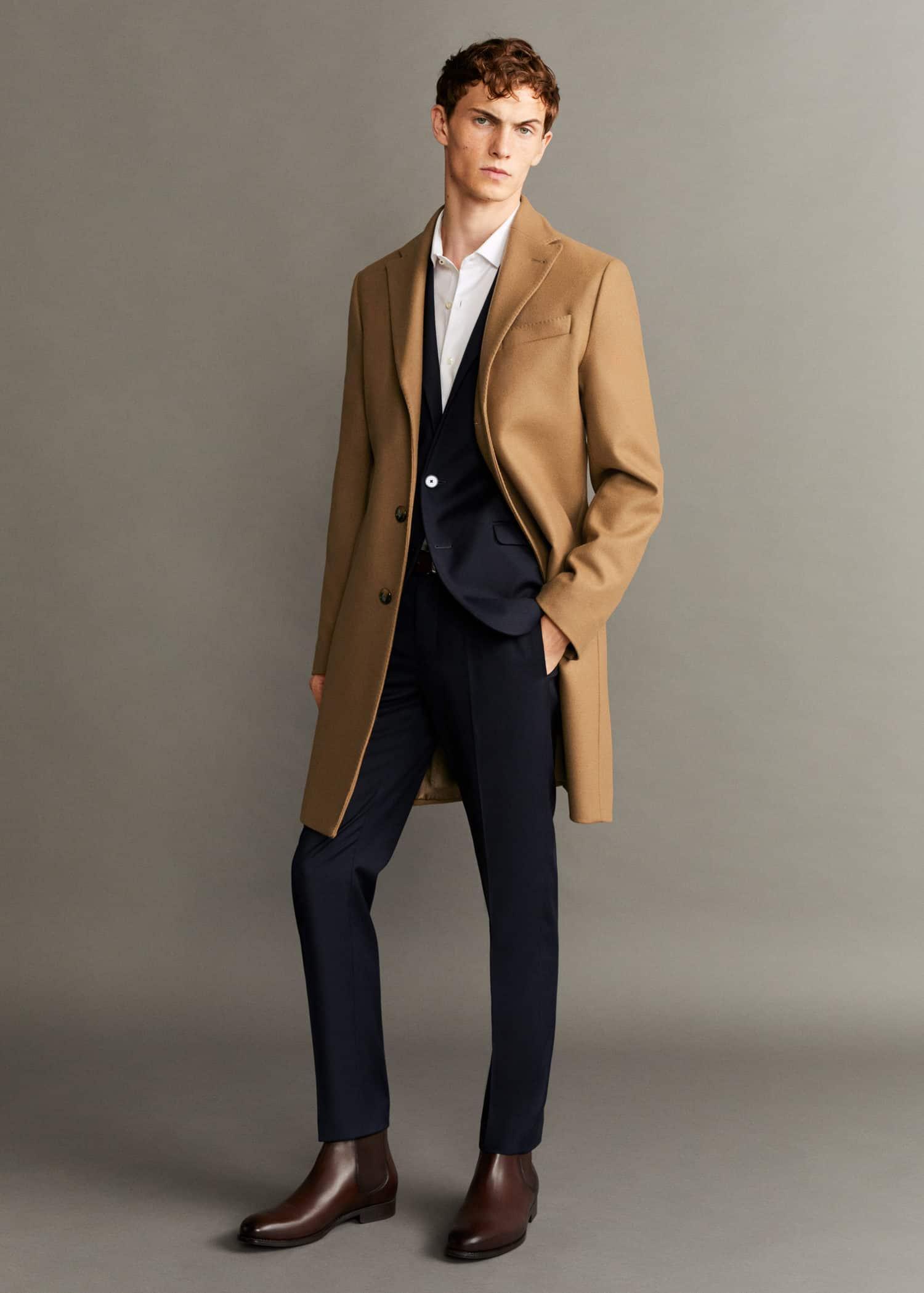 chaqueta de lana gris hombre zara