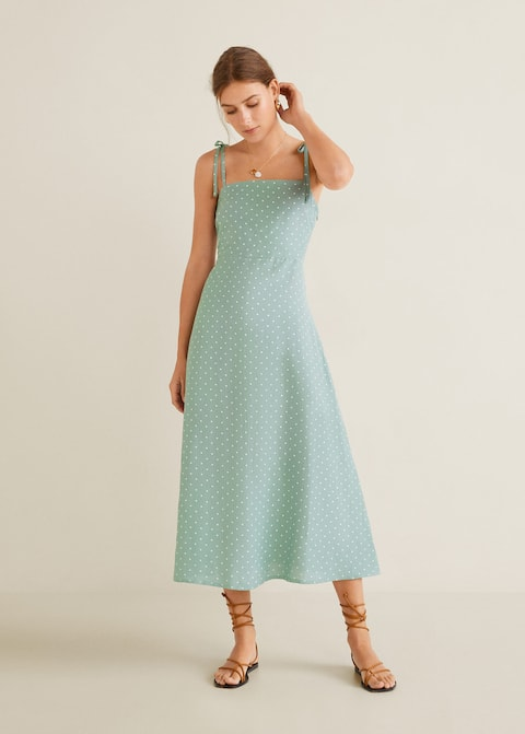 Linen Strap Dress by Mango