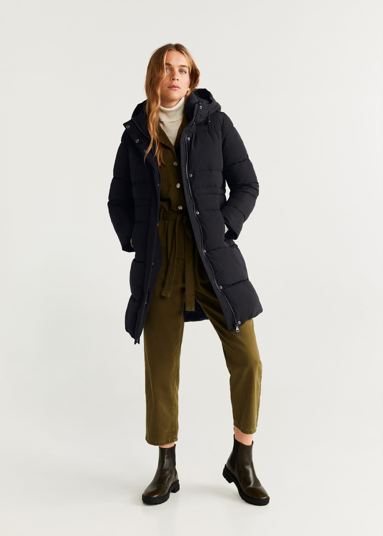 Manteau femme avec col vrai fourrure