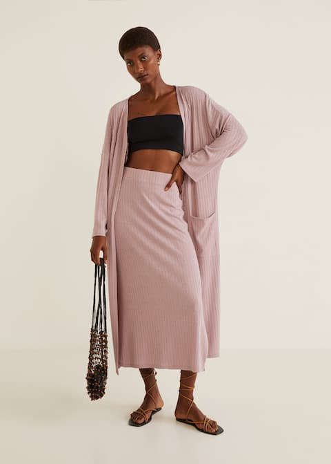 Ribbed Midi Skirt by Mango
