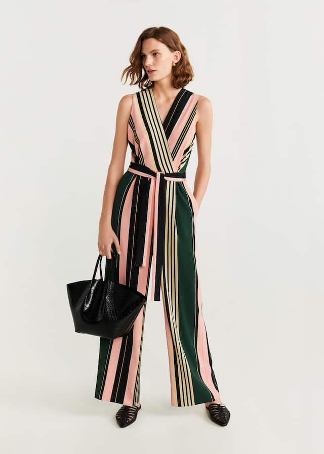 Long striped jumpsuit dress - General plan