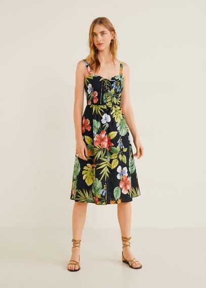 Тропическое платье изо льна - Fame5 от Mango