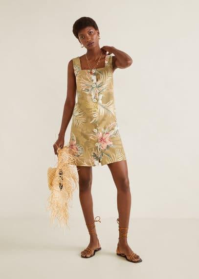 mango - Leinenkleid mit knöpfen