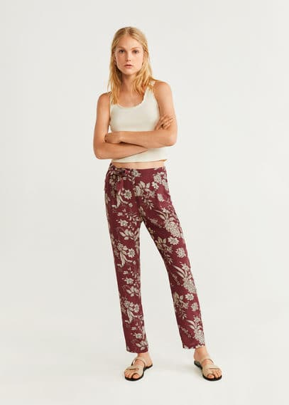 Струящиеся брюки с принтом - Simona от Mango