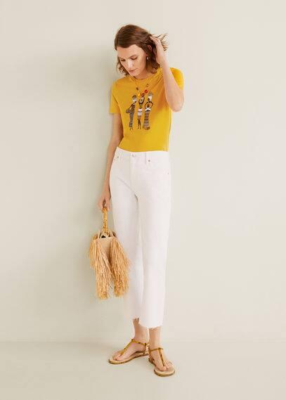mango - Bedrucktes baumwoll-t-shirt