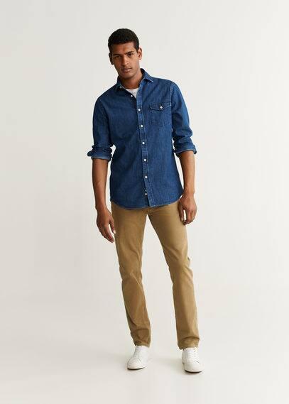 Рубашка slim fit из темного денима - David от Mango
