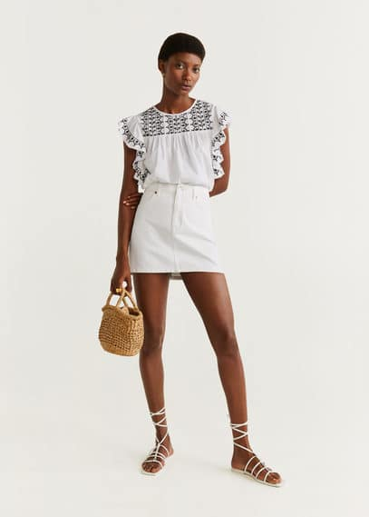 Блузка с вышивкой и воланами - Mercuri-h от Mango