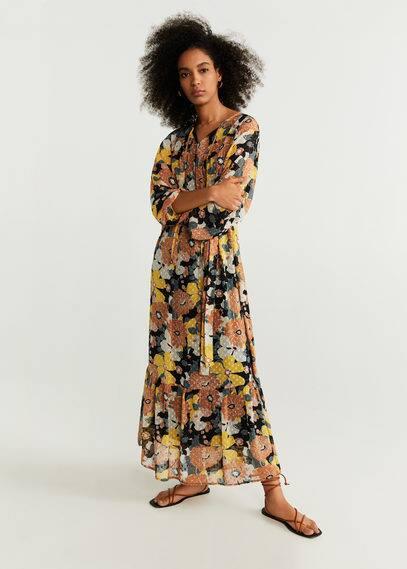Шифоновое платье с принтом - Flower-a от Mango