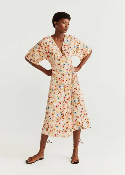 Платье с запáхом и цветами - Acqua от Mango