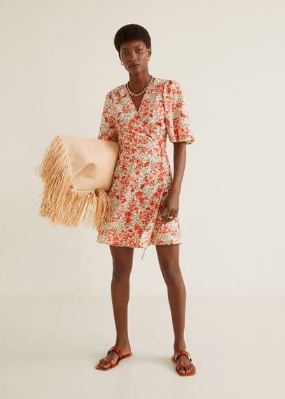 Принтованное платье с запахом - Coral от Mango