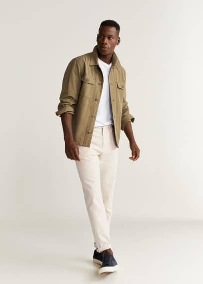 Холщовые брюки regular fit из хлопка - Juan от Mango