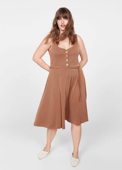 Платье в рубчик с пуговицами - Rocio от Mango