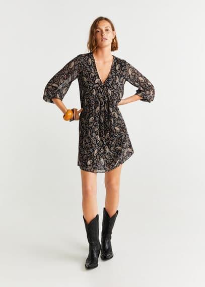 Принтованное платье в стиле ретро - Boho от Mango