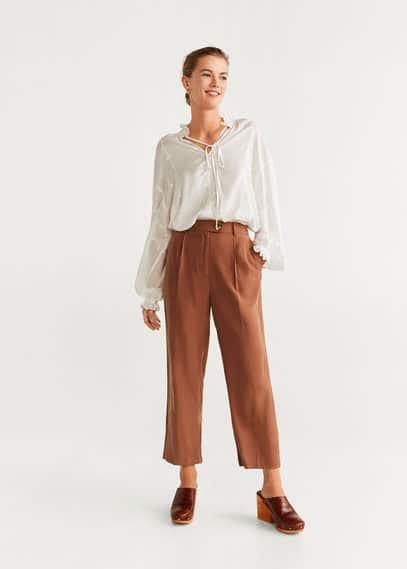 Прямые длинные брюки - Lourdes от Mango