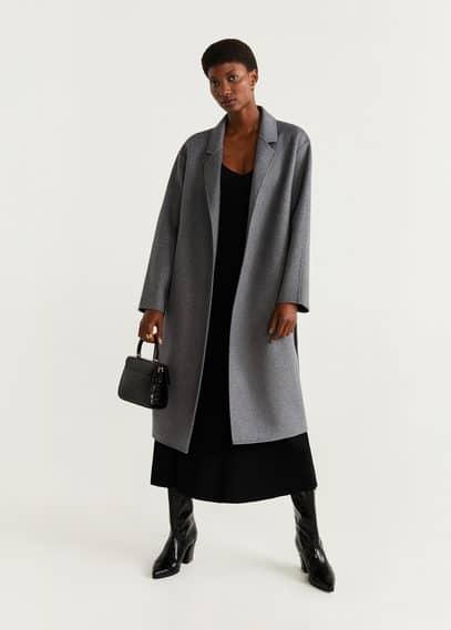 Полушерстяное пальто с поясом - Batin5 от Mango