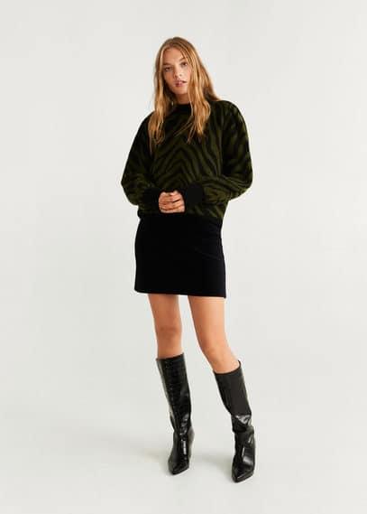 Вельветовая мини-юбка с поясом - Farrah