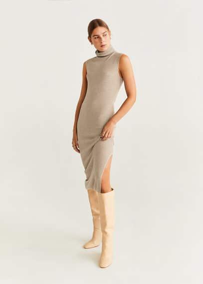 Lastikli midi elbise
