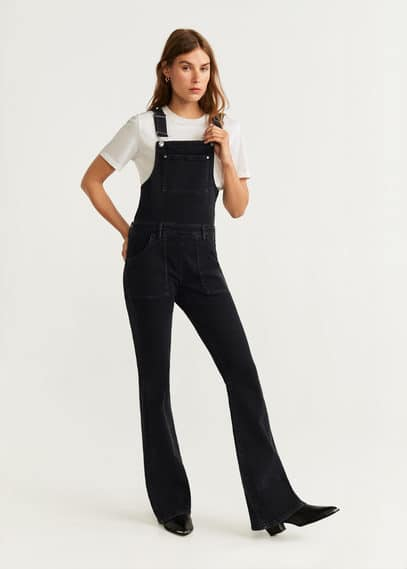 mango - Ausgestellte jeans-latzhose