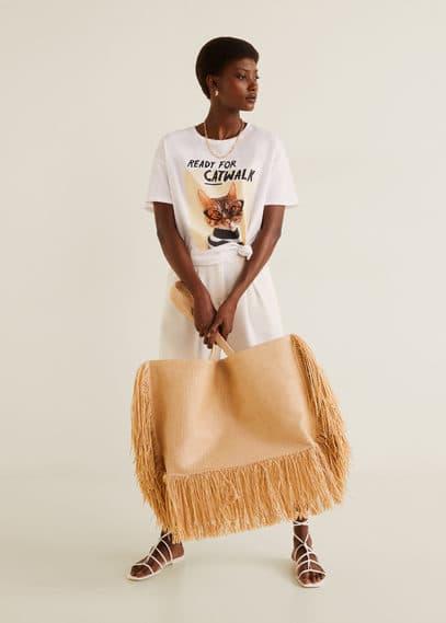 mango - Baumwoll-t-shirt mit bildaufdruck
