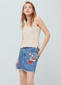 Patch denim skirt - Women | MANGO USA