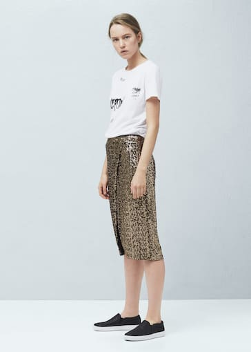 ddc53a8103de6c Sequin wrap skirt - Woman | Mango Albania