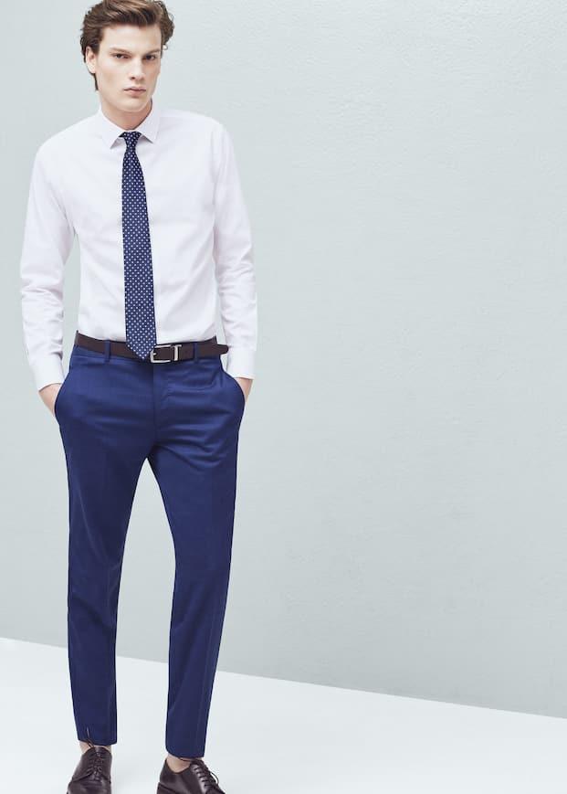 Pantalón traje slim-fit lana - Hombre  007b30cc808