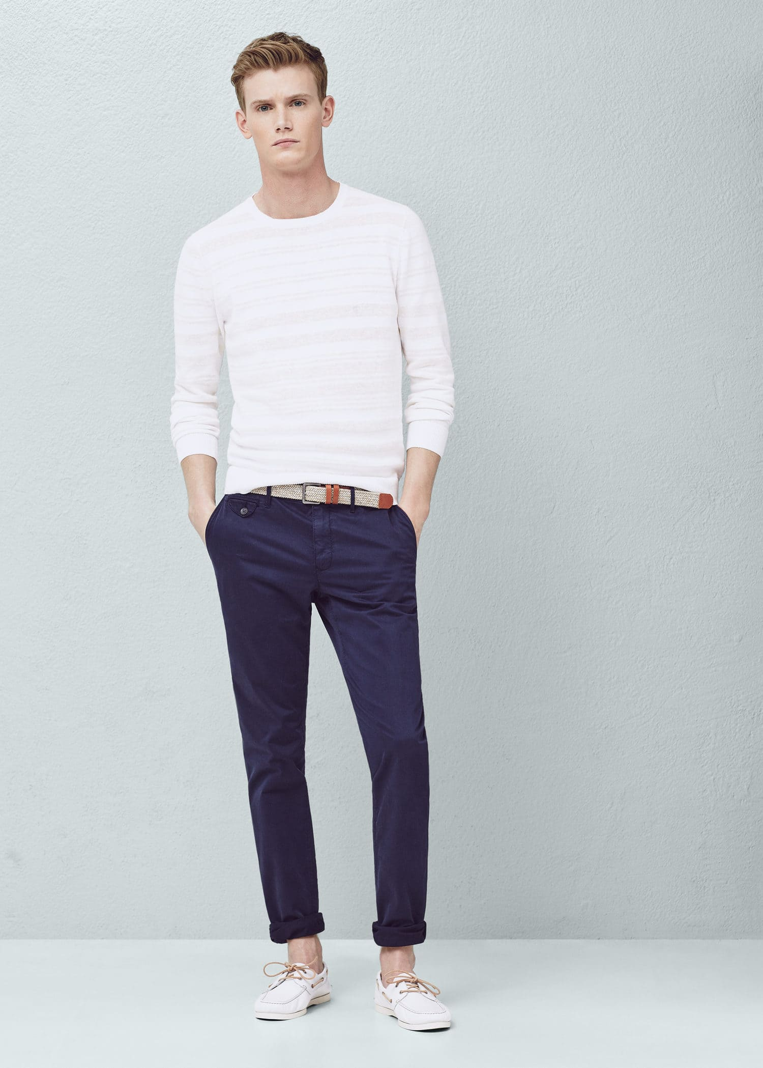 Mango Barna5 Slim fit Cotton Chinos in Blue for Men Lyst