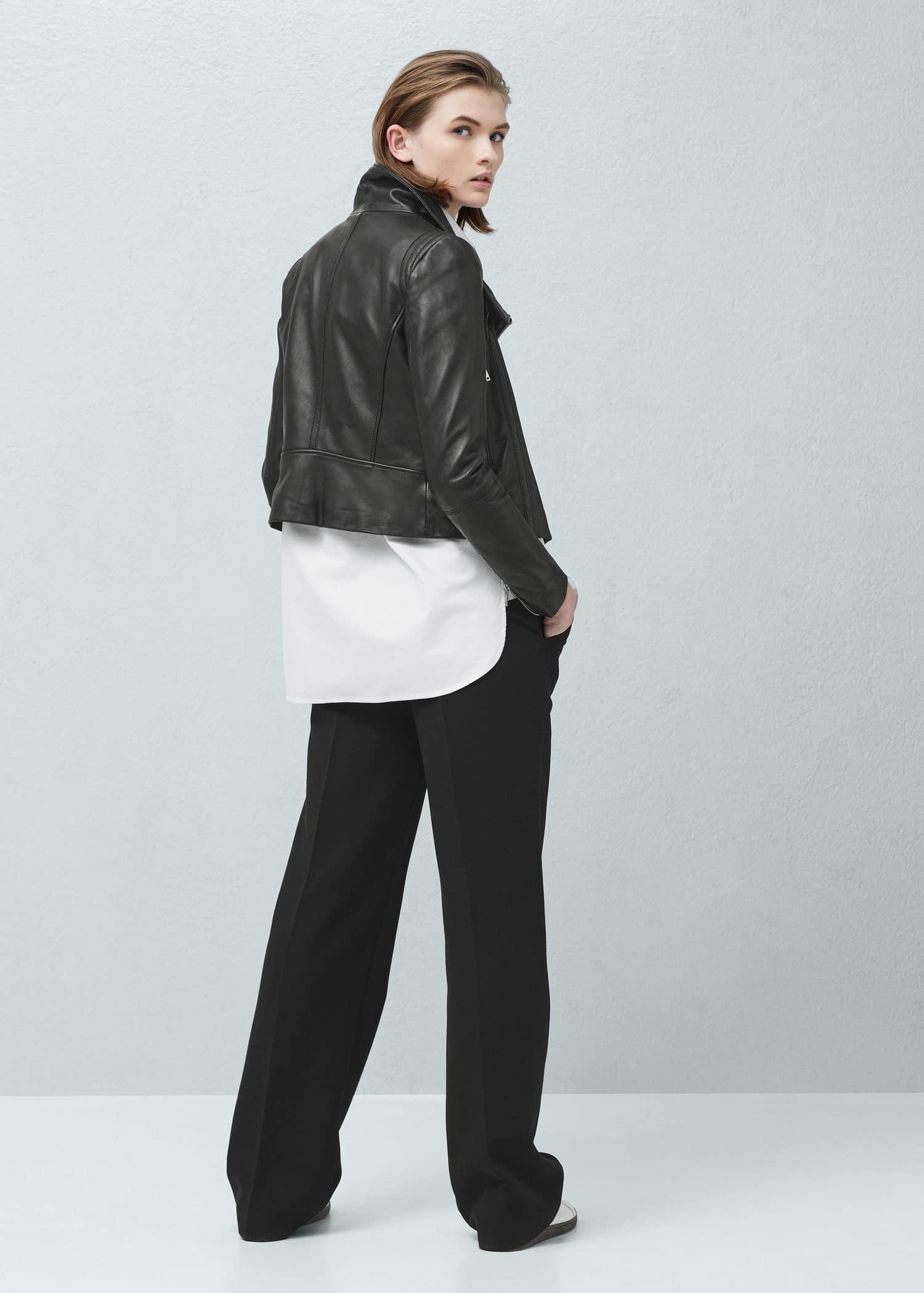 Veste en cuir noir femme mango