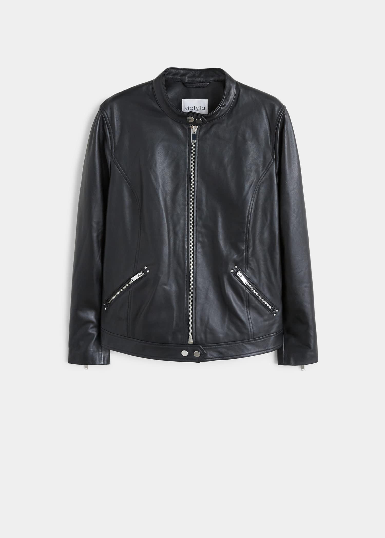 Lederjacke mit zipper Große größen | Violeta by Mango Schweiz