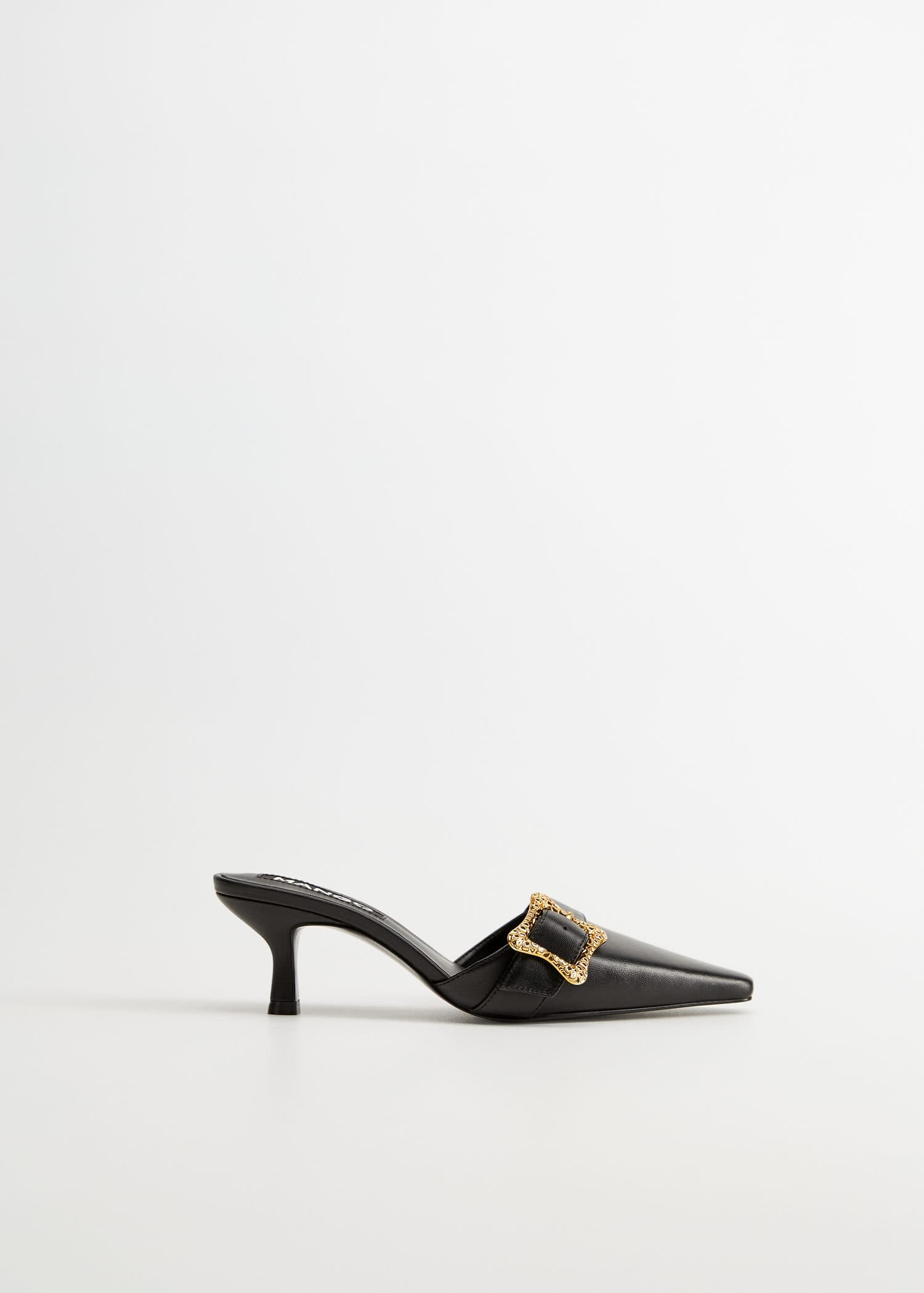 Buckle leather mules - Woman   Mango Canada