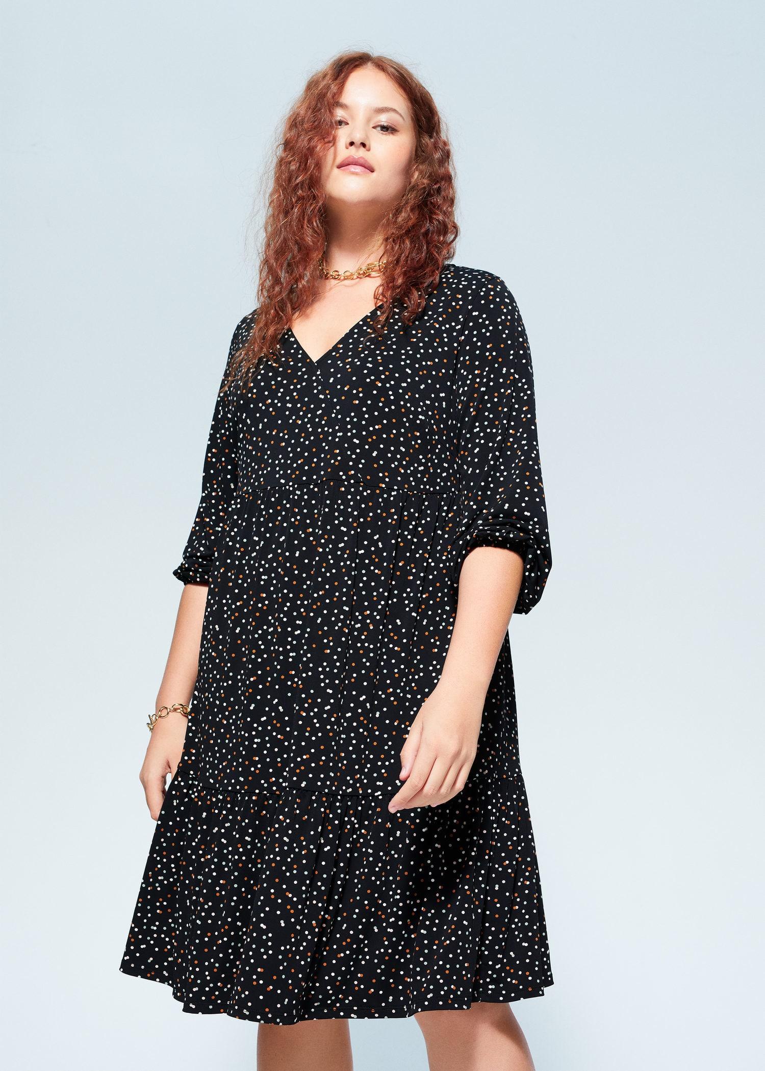 midi-kleid mit polka dots - große größen | violetamango