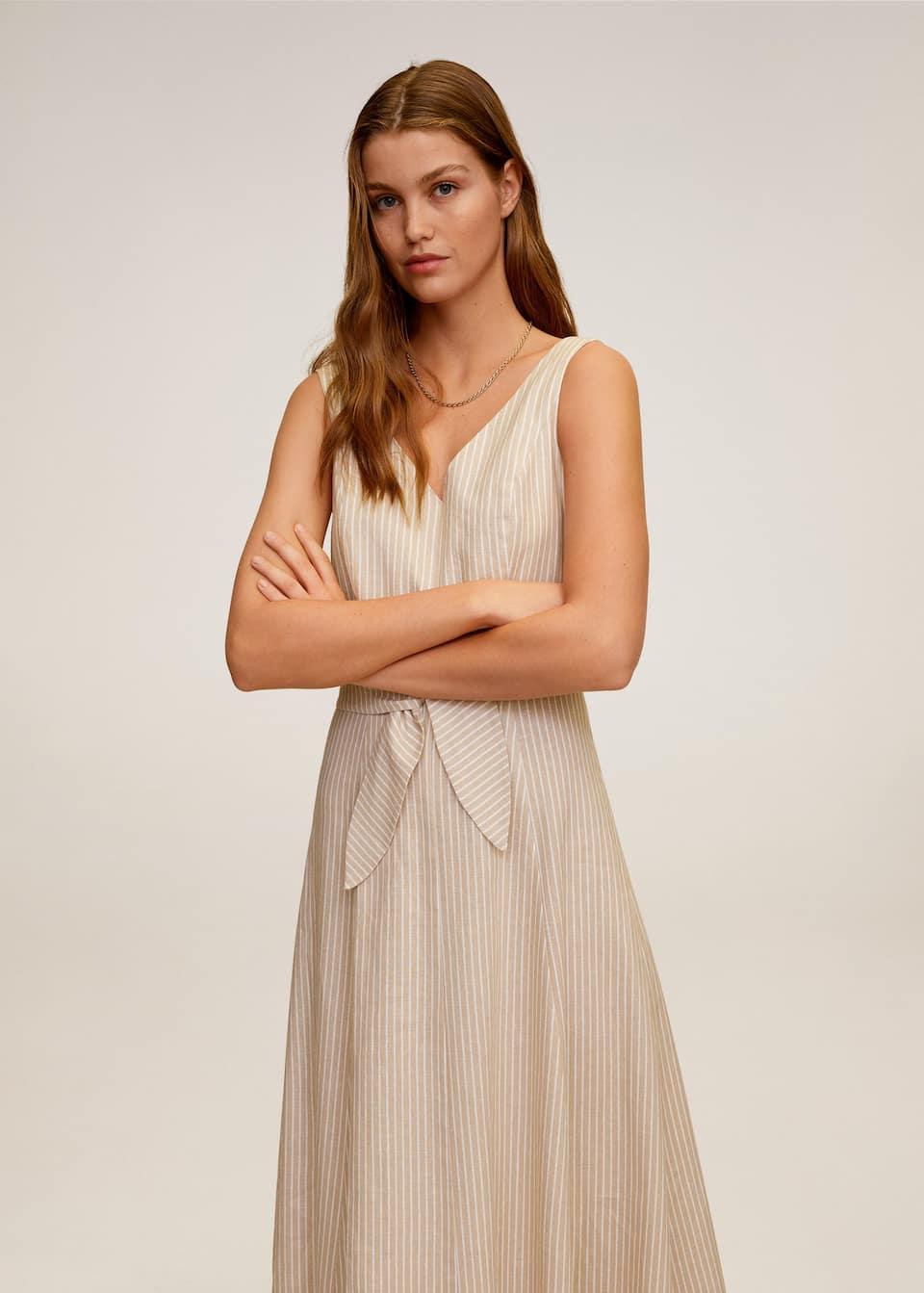 linen-blend midi dress - woman | mango malaysia