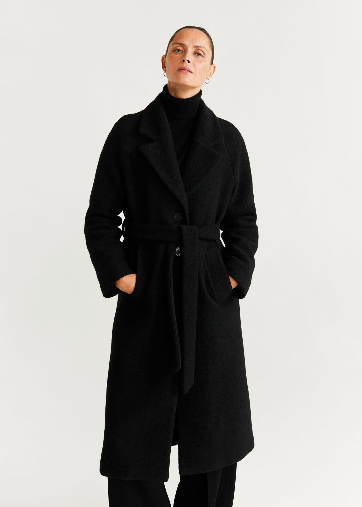 Полушерстяное пальто с поясом
