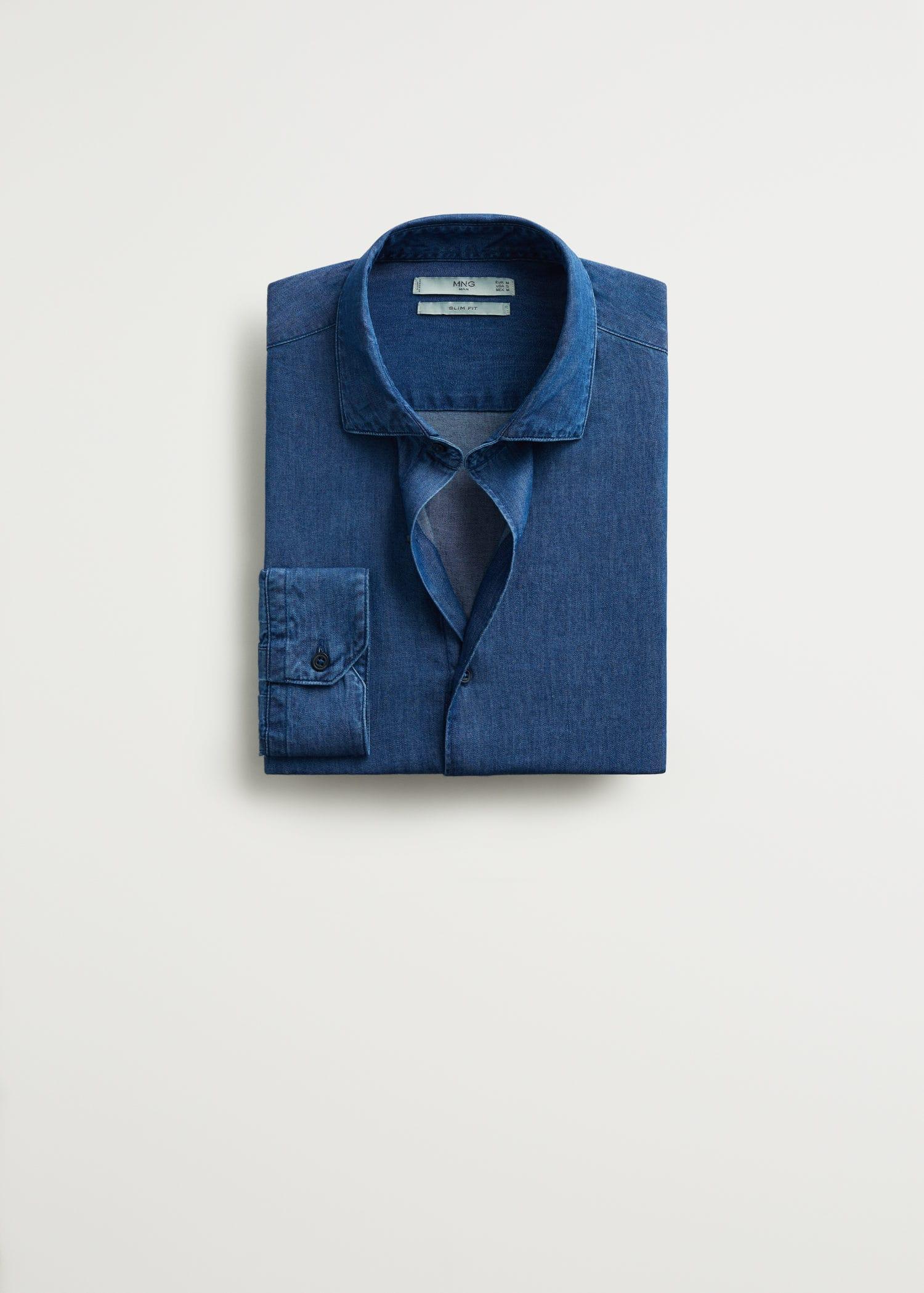 Mango Regular Fit Blå Skjorta Herr