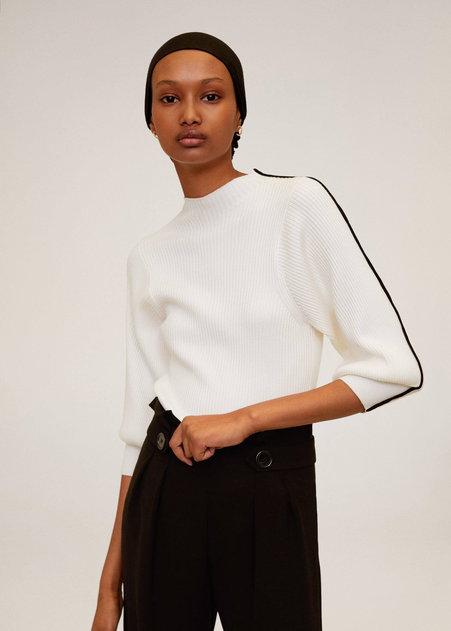 New Womens Mango FINE-KNIT COTTON SWEATER Khaki Top Knitwear