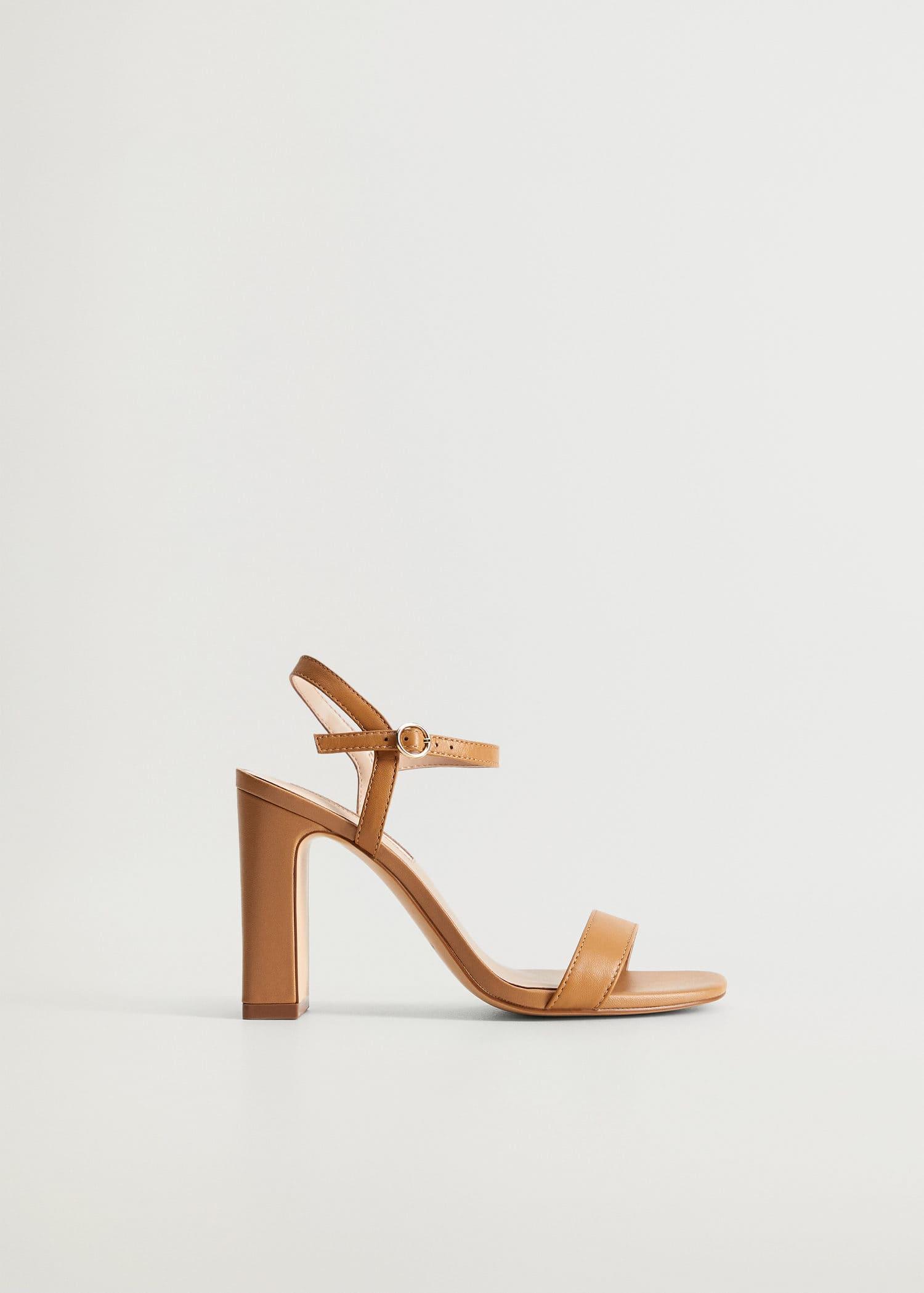 Häl läder sandaler Damer | Mango Sverige