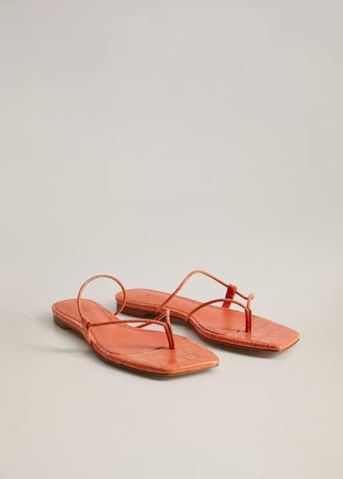Flat croc sandal - Medium plane