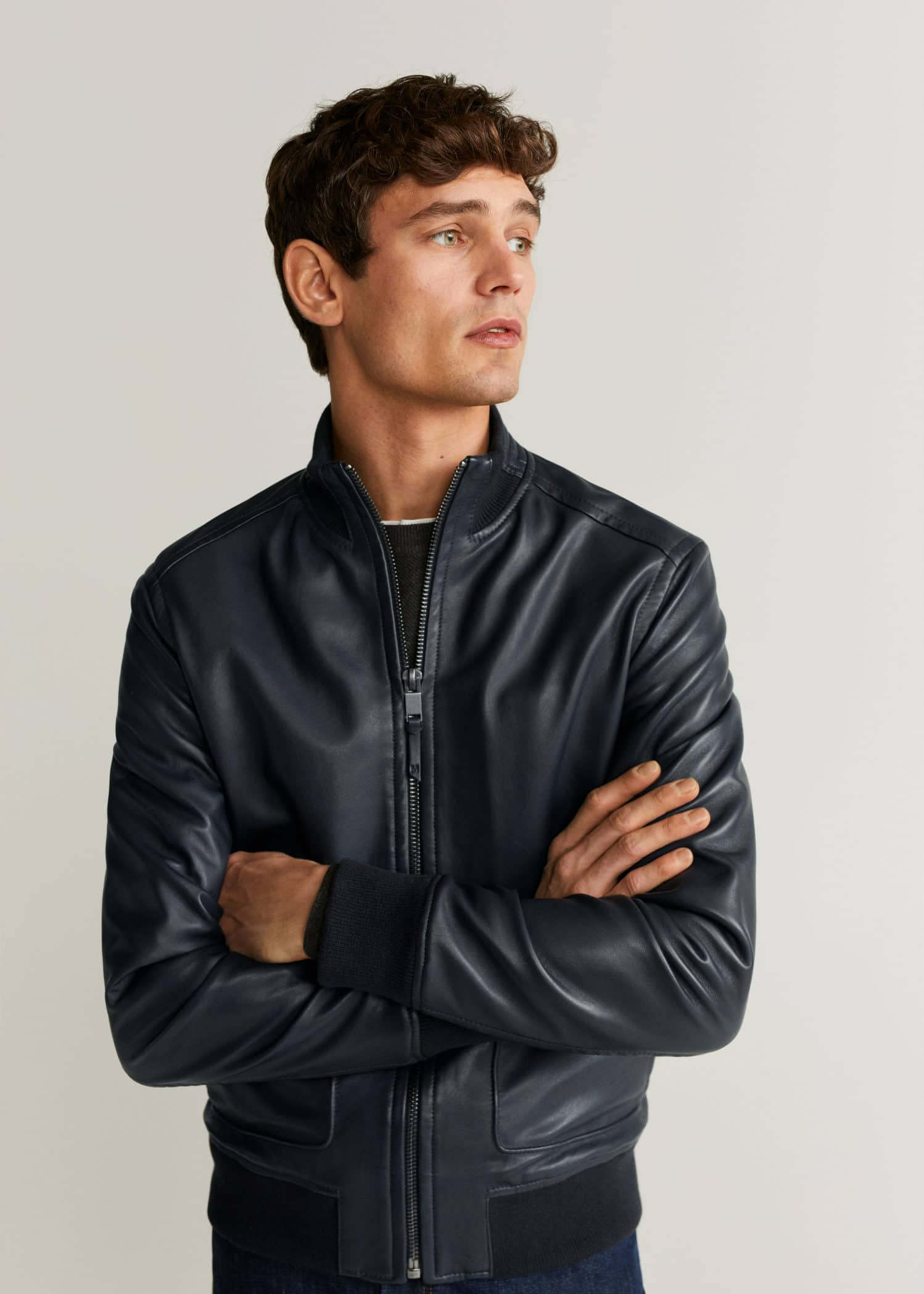 Bomber cuir nappa bleu Homme | Mango Man Suisse