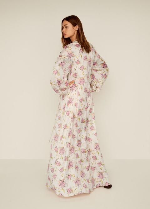 Φόρεμα φλοράλ μανίκι σούρσ - Πίσω όψη προϊόντος