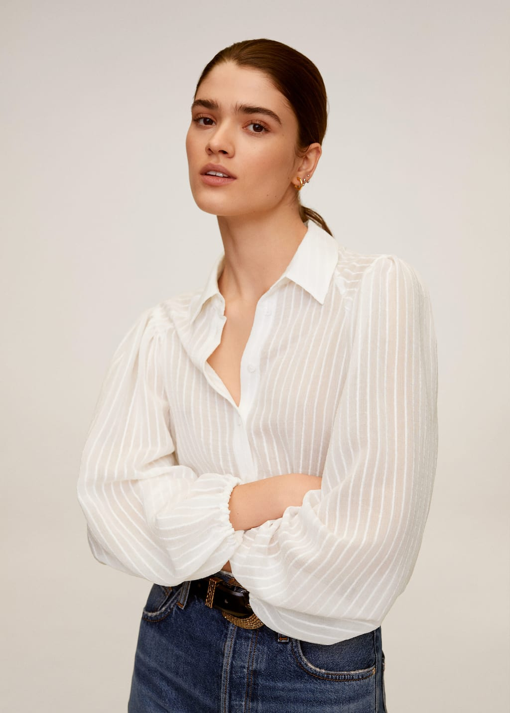 Puffed sleeves striped shirt - Medium plane