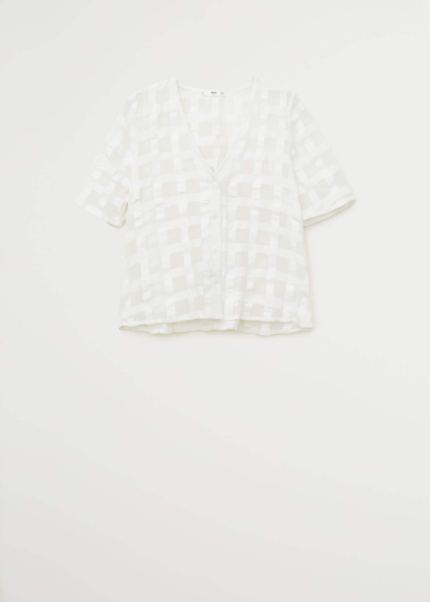 Blusa textura cuadros Mujer   Mango España