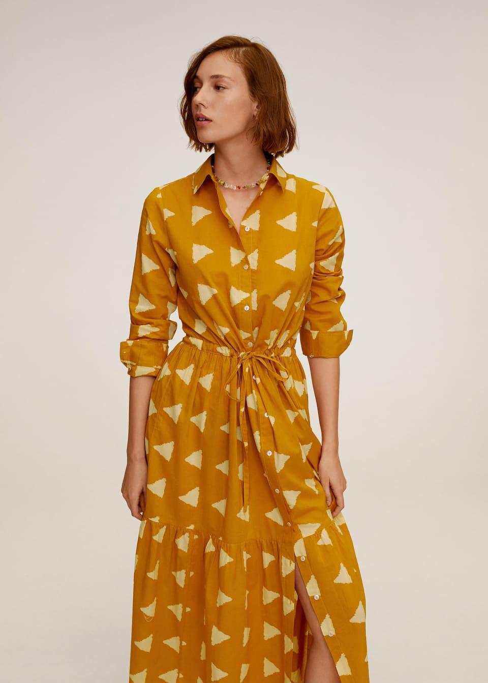 geometric print long dress - woman   mango malaysia