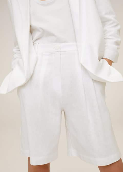 Linen-blend Bermuda plated shorts - Details of the article 1