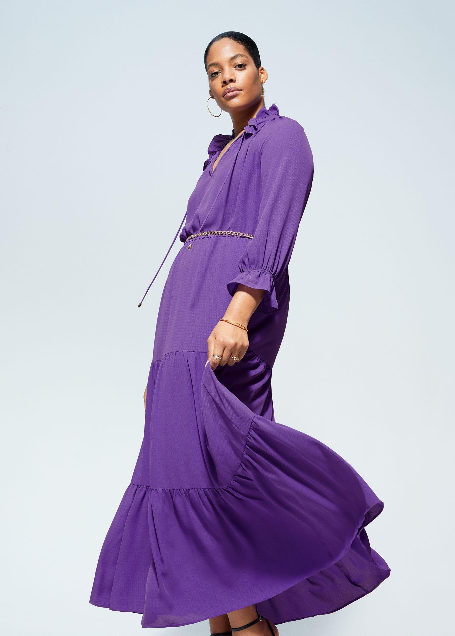 Vestido Largo Volantes Tallas Grandes Violeta By Mango Usa