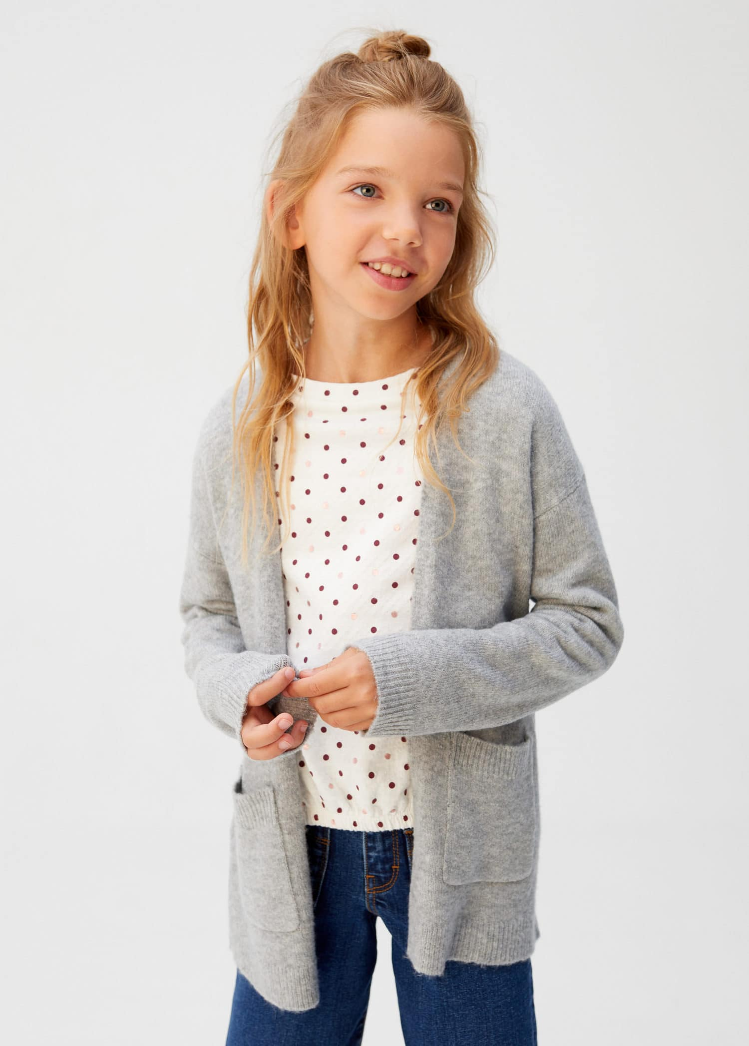 Pocket knit cardigan Girls | Mango Kids Iran