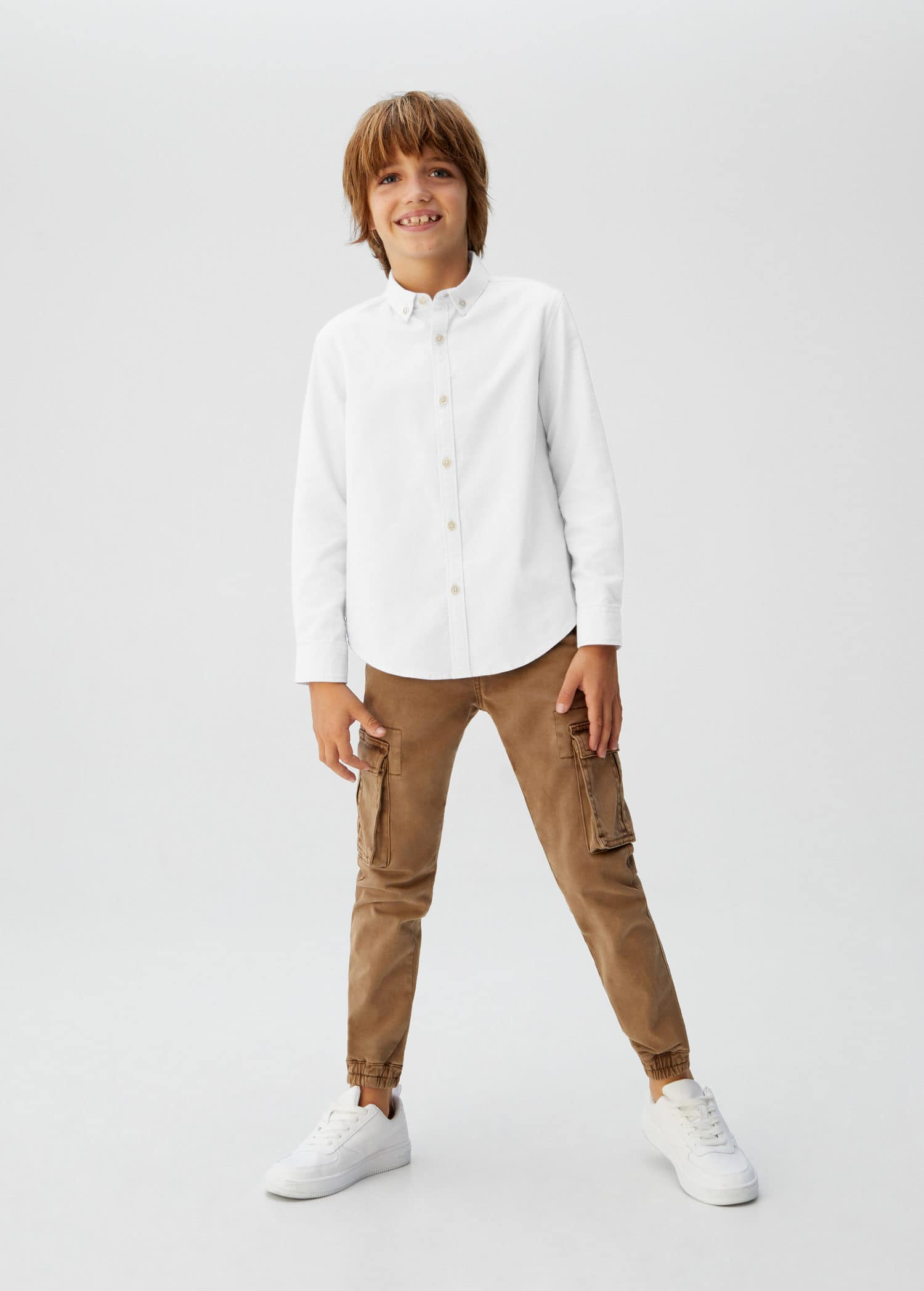 Linskjorte med kinakrage Gutt   MANGO Kids Norge