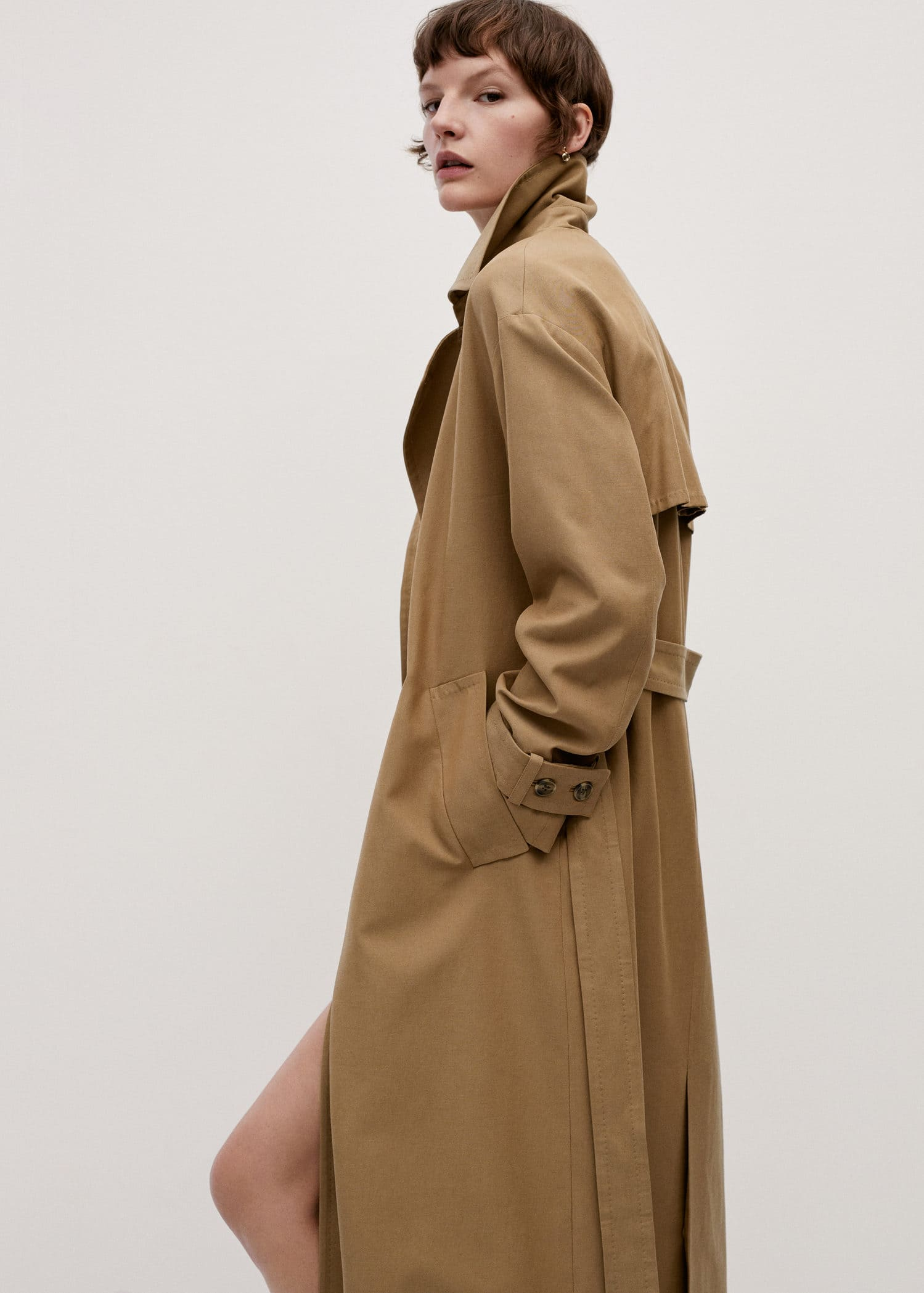 Cotton trench coat in tobacco brown M