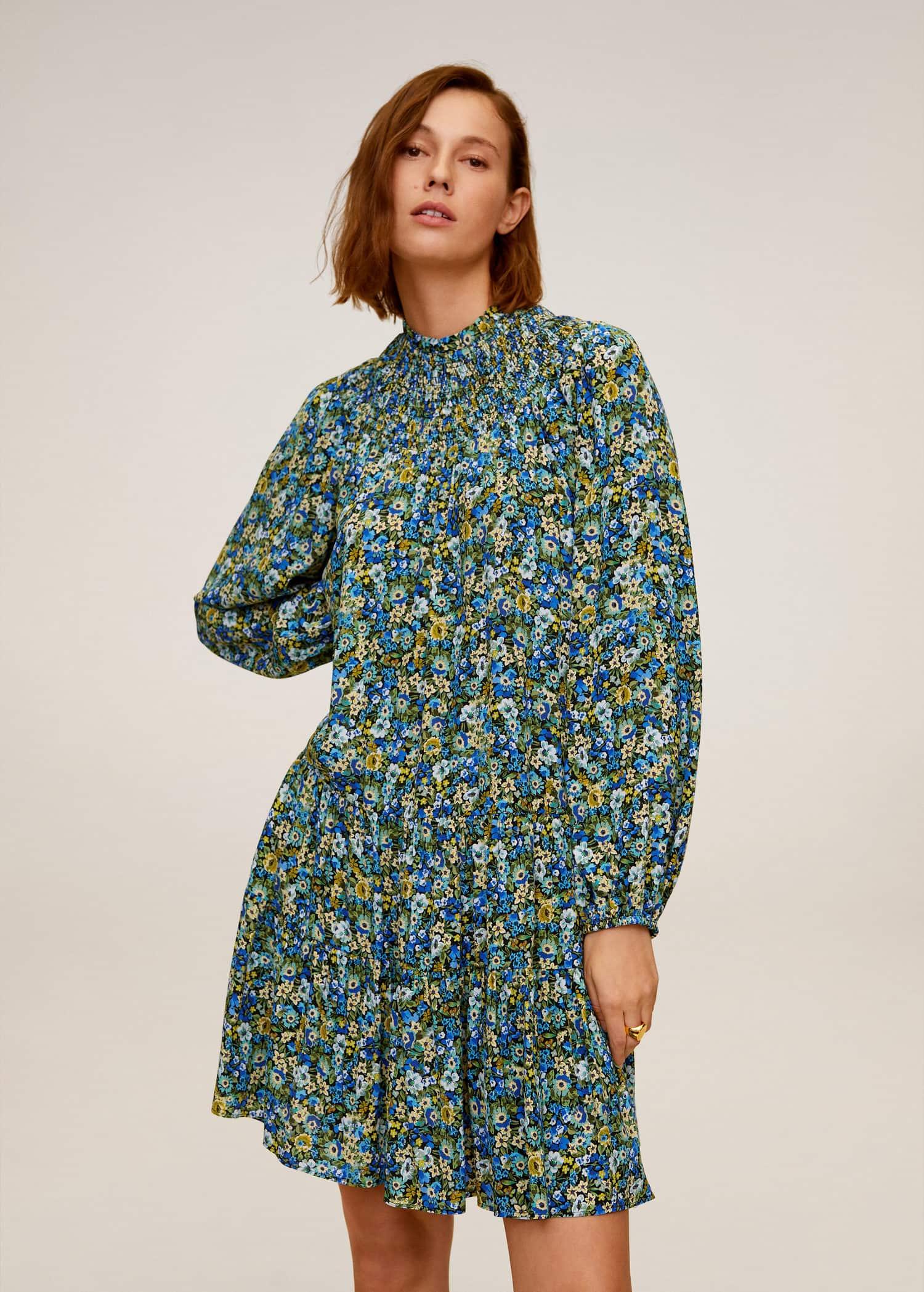 Elastisk kjole med trykk Damer   Mango Norge