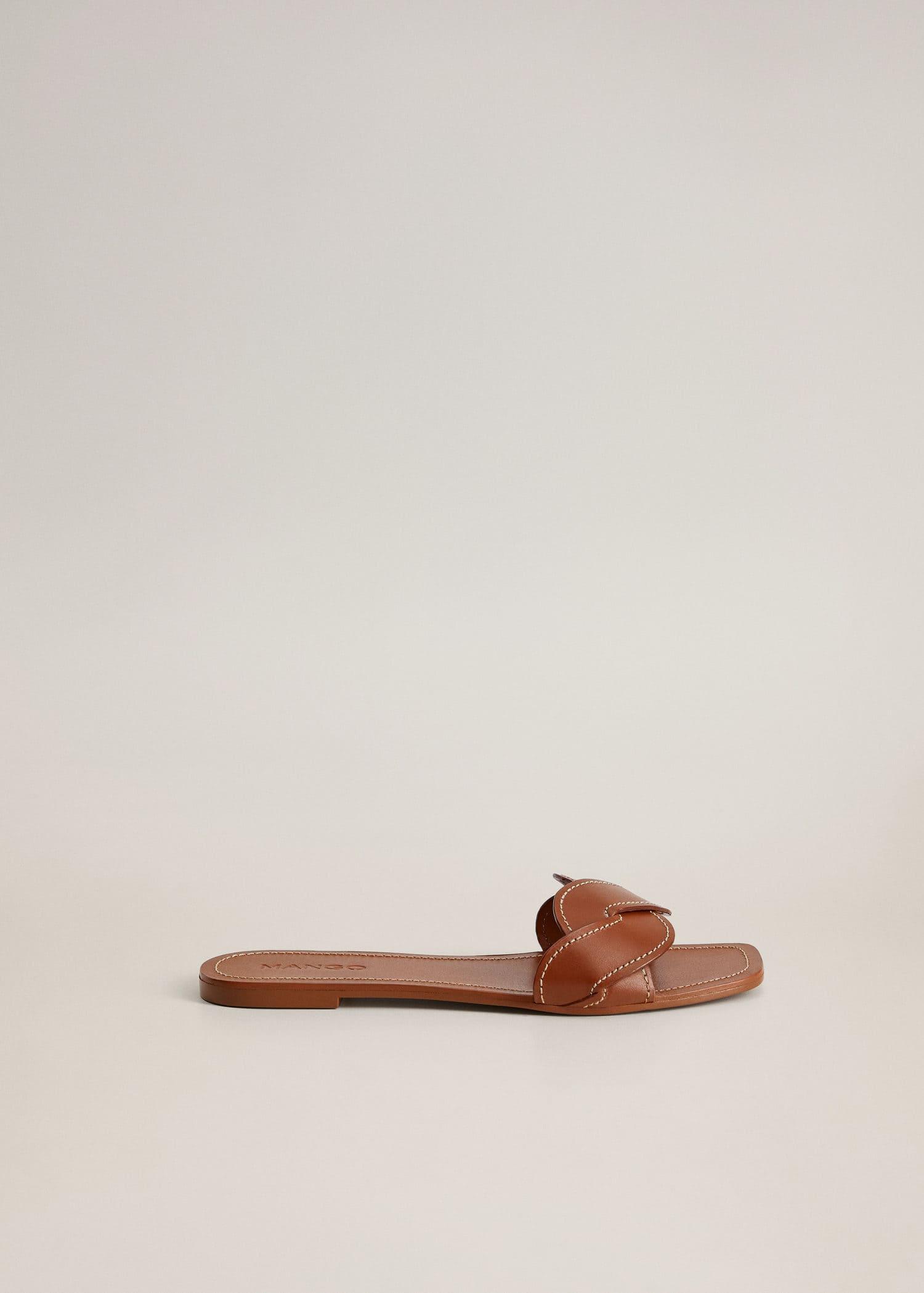 Leather braided sandals - Woman | Mango