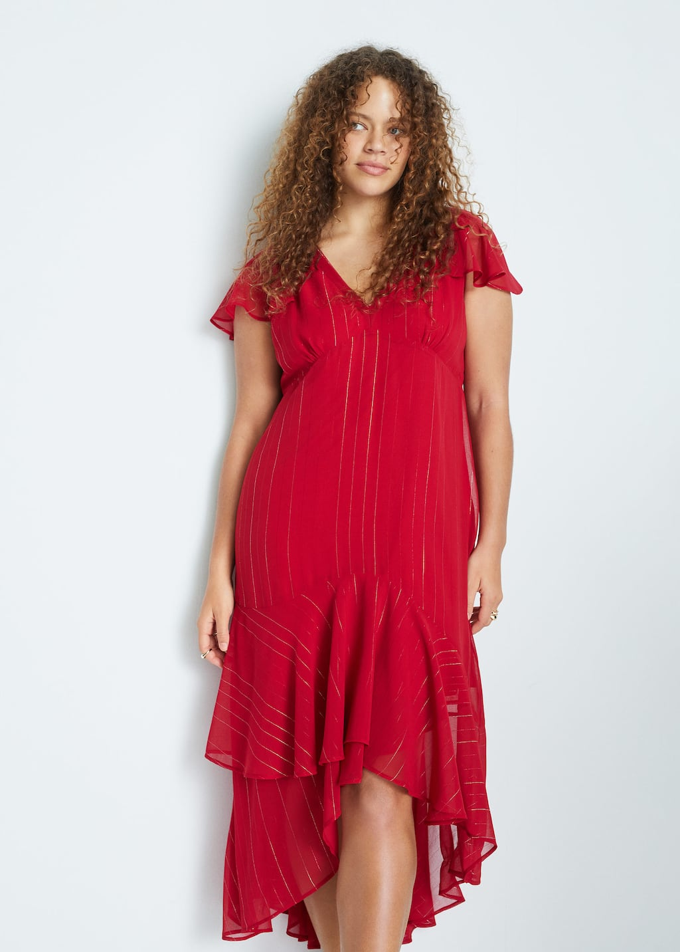 ruffled midi dress - plus sizes | violetamango singapore